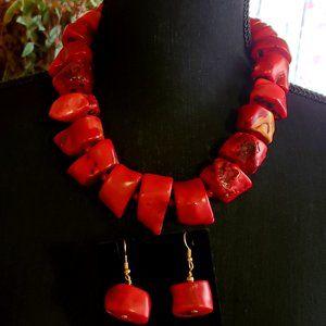 KJL Natural Deep Sea Coral Necklace set